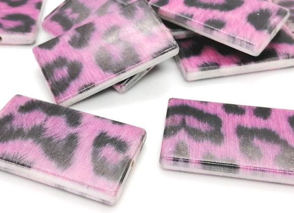 Rectangle Leopard Print Bead - Pink