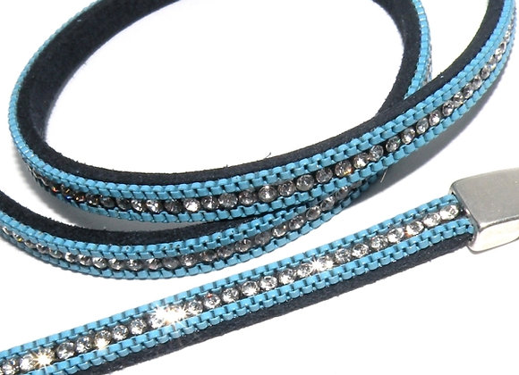 Faux Suede with Strass Crystals 6mm - Bright Blue