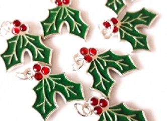 Enamel Holly Charm