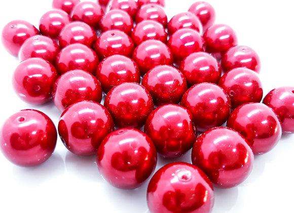 Dark Red Glass Pearl Bead 14mm