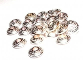 Tibetan Style Patterned Spacer Bead 3x8mm - Antique Silver - Pack of 10
