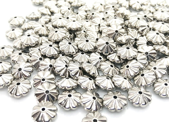 Floral Spacer Bead 4x10mm - Silver - Pack of 20