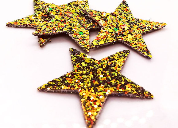 Faux Leather Glitter Star Rose Gold - Pack of 2