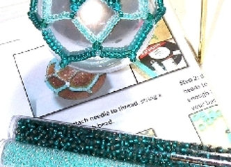 Beginners Beaded Bauble Cover - Turquoise