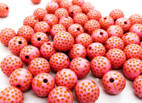 Round Bead 12mm - Dark Pink Dotty - Pack of 10