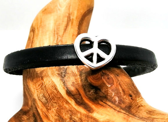 Zamak Metal Slider for Regaliz Leather - Silver Heart