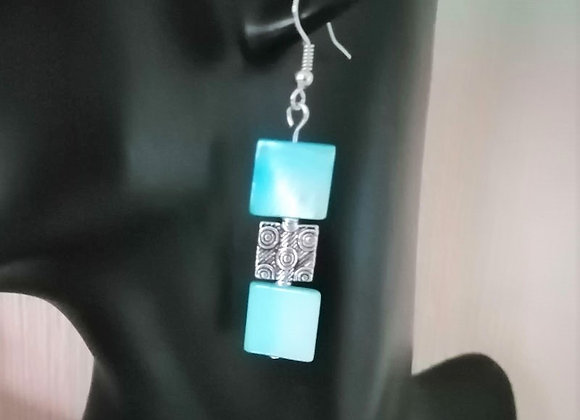Blue & Silver Square Bead Earrings