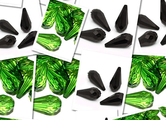 Large Faceted Teardrop Beads 24mm - Green or Black