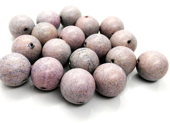 Chunky Ceramic Round Bead 20mm - Mottled Grey/Lilac