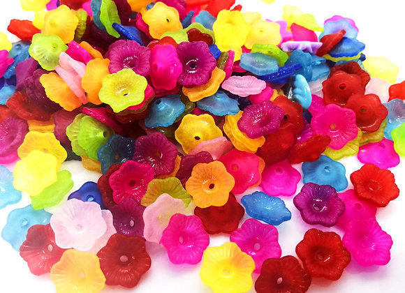 Transparent Frosted Flower Caps Pack of 100