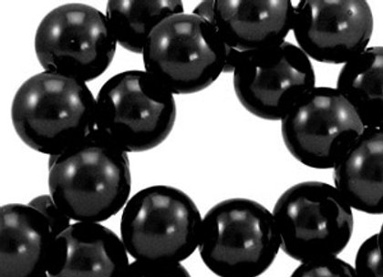 Glass Pearl Beads 6mm Black - Pack of 50