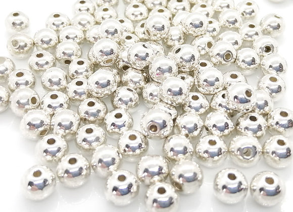 Tibetan Style Round Bead 4mm - Bright Silver