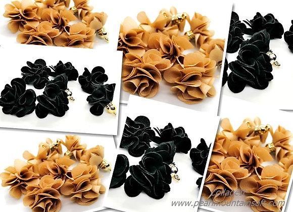 Flower Tassel Pendant - Black or Beige