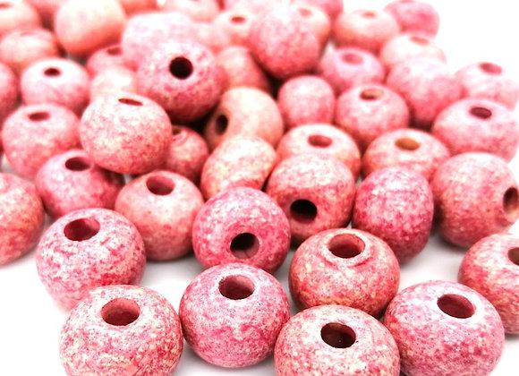Stone Washed Ceramic Beads - 15mm Rose Pink
