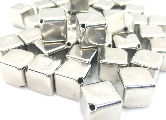 Silver Cube Bead 12mm