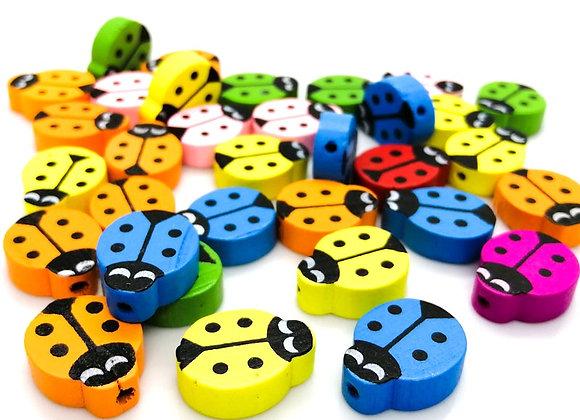 Wooden Ladybird Beads Pack of 10