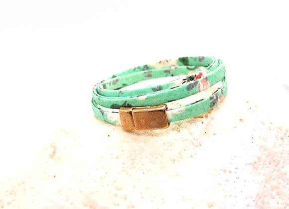 3 Wrap Floral Fabric Bracelet Size Small