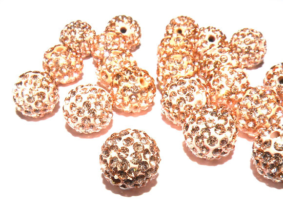 Polymer Clay Rhinestone Bead Grade A Crystals Champagne Pack of 10