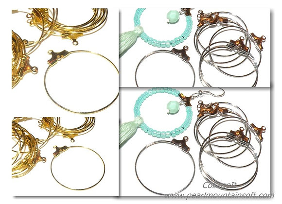 Brass Hoop Earrings Pack of 2 - Gold or Platinum