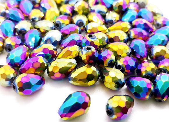 Electroplate Faceted Glass Teardrop Bead - Multi 12mm