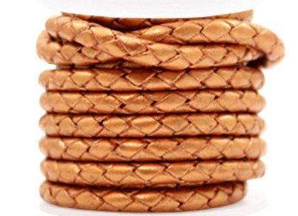 Designer Quality Round Braided Leather 4mm - Copper Gold Metallic