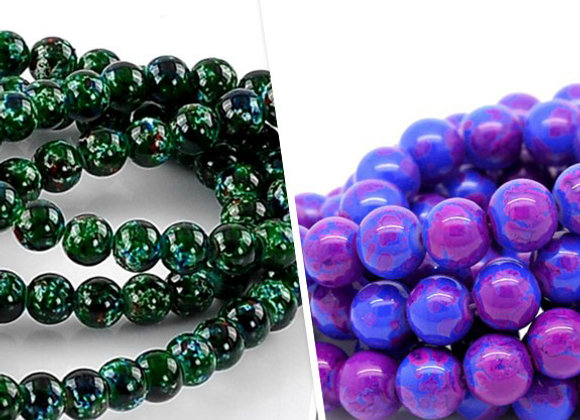 Glass Round Patterned Bead 8mm - Choice of Colours