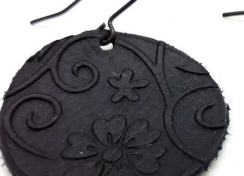 Embossed Leather Circle Earrings - Black