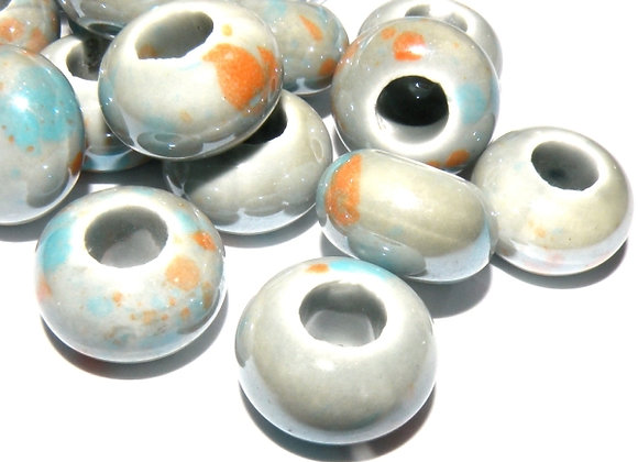 Pearlised Porcelain Rondelle Beads 15x10mm - Grey Mix