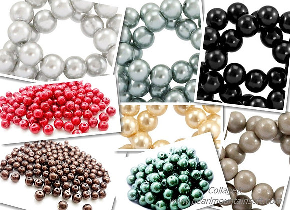 Glass Pearl Beads 6mm - Choice of Colours - Pack of 50