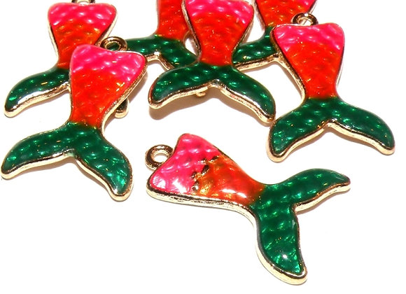 Mermaid Tail Charms Pack of 2 - Pink Mix