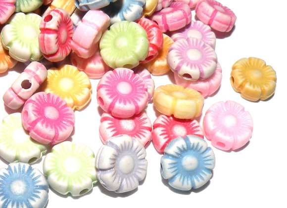 Pastel Flower Bead Pack of 50