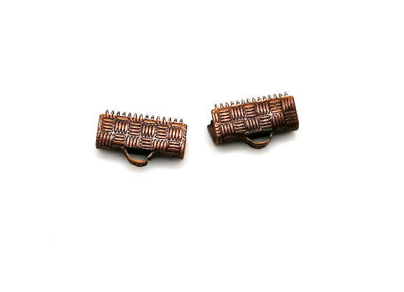 Ribbon Crimp Ends 14x5mm Pack of 2 - Red Copper