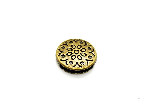 Tibetan Style Metal Round Patterned Slider Bead Antique Copper - 13mm Hole