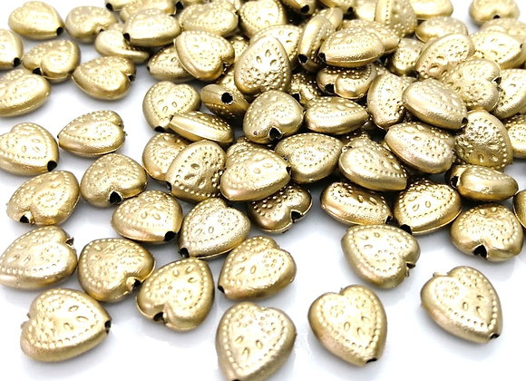 Small Gold Acrylic Heart Bead 10x8mm