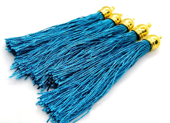 Large Polyester Tassel - Turquoise & Gold