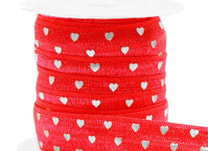 Elastic Ribbon 15mm - Red with Silver Hearts