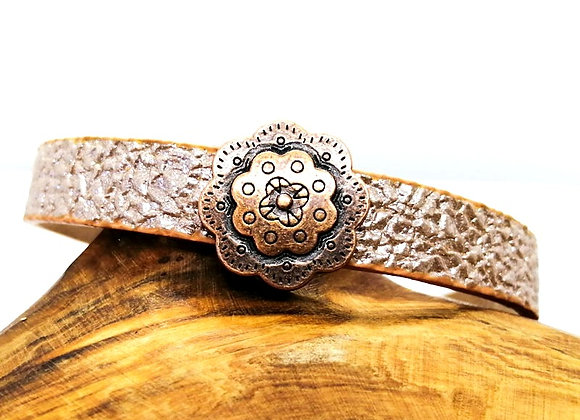 Tibetan Style Metal Flower Slider Bead - 13mm Hole - Choice of Colours
