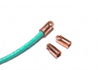 Rose Gold Glue In End Caps 1mm Hole Pack of 2