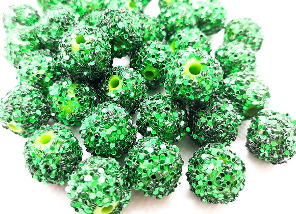 Acrylic snowflake bead with paillettes snowball bead green
