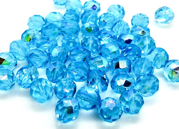 Electroplate Turquoise Glass Faceted Bead 8mm