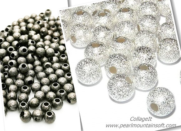 Metal Round Stardust Beads 4mm - Black or Silver