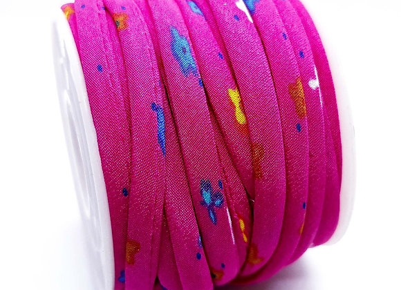 Round Tube Fabric Cord - Pink Floral