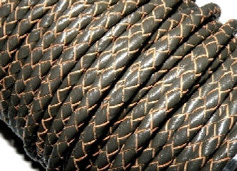 Hollow Braided 4mm Bolo leather - Dark/Slate Grey