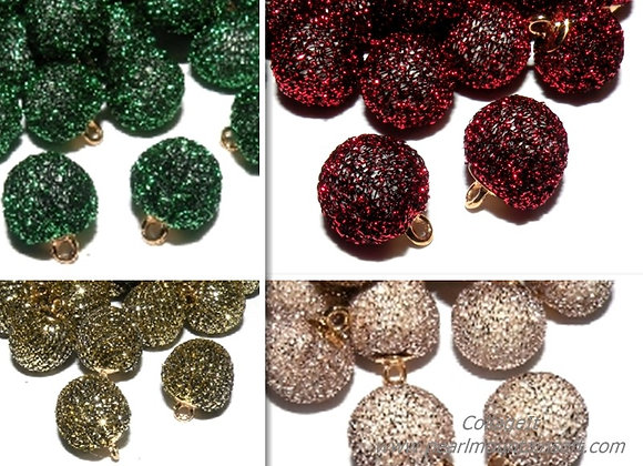 Glitter Pompom Charms - Choice of Colours