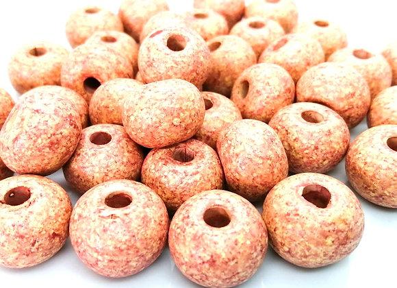 Stone Washed Ceramic Beads - 20mm Light Beige