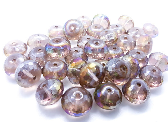 Glass Faceted Abacus AB Electroplate Bead Frosted Rainbow 14mm Pack of 10