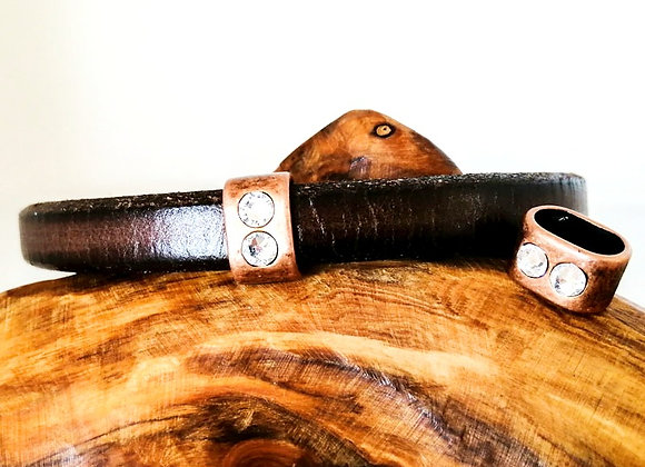 Zamak Metal Slider for Regaliz Leather - Old Copper Oval with Strass Crystals