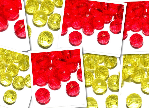 Transparent Faceted Bead 8mm - Yellow or Red - Pack of 50