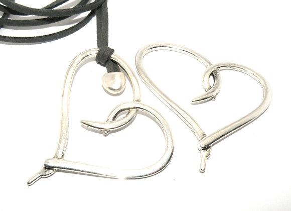 Large Open Heart Metal Pendant