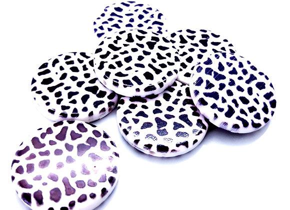 Large Round Flat Disc Bead 32mm - Animal Print
